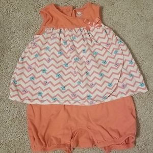 Coral onesie with Chevron and butterfly overlay